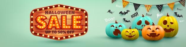 Хэллоуин продажи плакат и баннер шаблон с красочными хэллоуин тыква и летучая мышь. веб-сайт жуткий, векторные иллюстрации eps10 Premium векторы