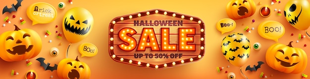 Halloween sale poster and banner template with cute halloween pumpkin,ghost balloons and wood sign on orange background. website spooky, Premium Vector