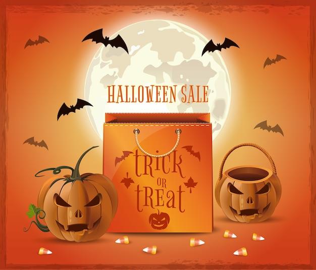 Halloween sale poster design. halloween shopping. trick or treat. Premium Vector