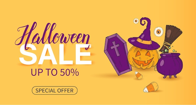 Halloween sale poster with lettering and halloween objects in sketch style Premium Vector