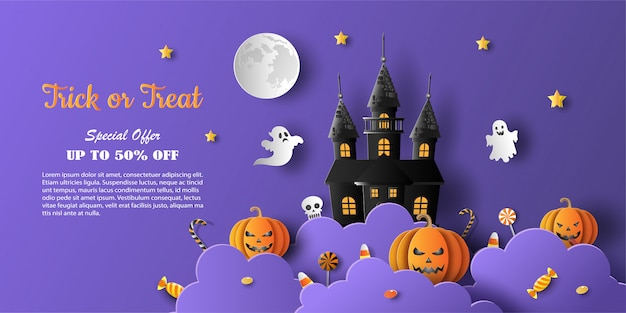 Halloween sale promotion banner with discount offer on special occasion Premium Vector