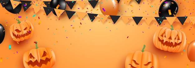 Halloween sale promotion poster with halloween balloons on orange background. scary air balloons.website spooky or banner template. Premium Vector