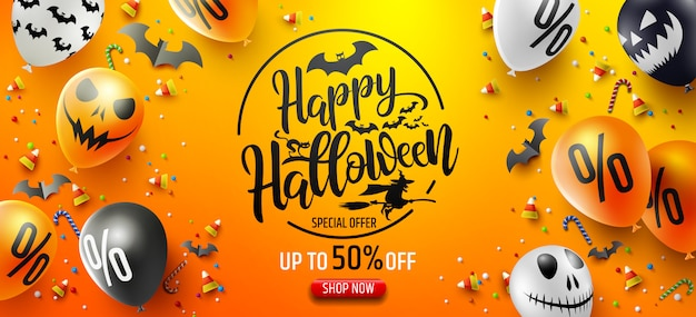 Halloween sale promotion poster with halloween candy and halloween ghost balloons Premium Vector