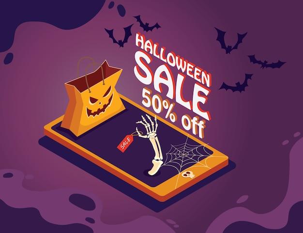 紫の背景にカボチャと電話でハロウィーンの販売促進ポスター。 Premiumベクター