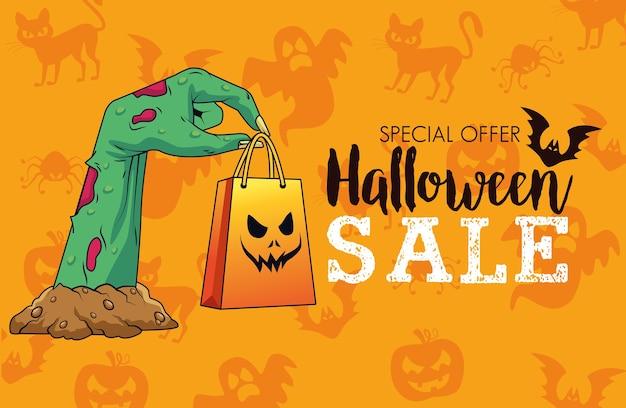 Halloween sale seasonal poster with death hand lifting shopping bag Premium Vector