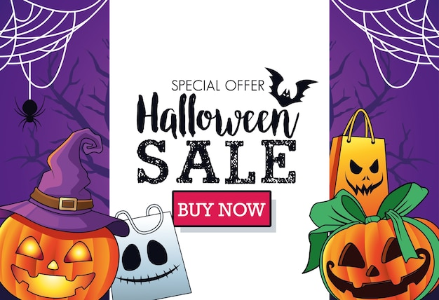 Halloween sale seasonal poster with pumpkins wearing witch hat and shopping bags frame Premium Vector
