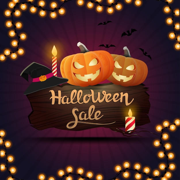 Halloween sale, square purple discount banner with a wooden board on which sit pumpkin jack Premium Vector