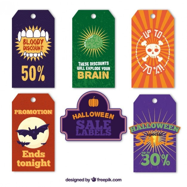 Halloween sale tags Free Vector