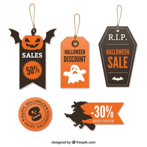 halloween sale tags premium vector - Halloween Sales