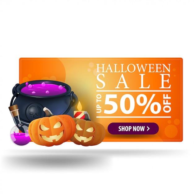 Halloween sale, up to 50% off, orange modern 3d banner with witch's pot and pumpkin jack Premium Vector