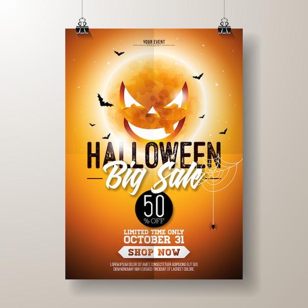 Halloween sale vector flyer illustration Premium Vector