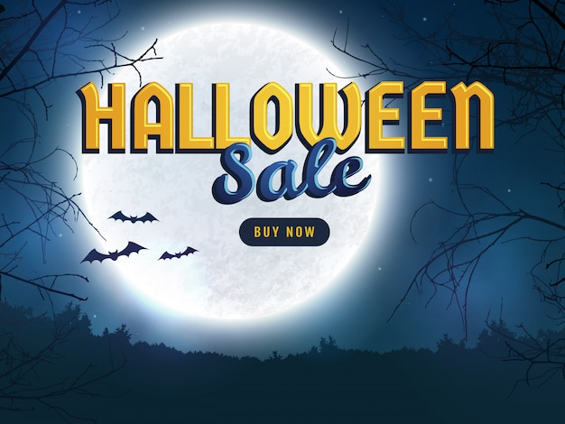 Halloween sale. web banner template. Premium Vector