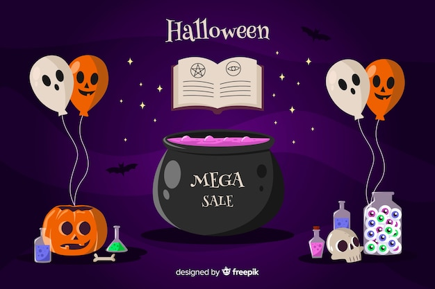 Halloween sale witchcraft background with balloons Free Vector