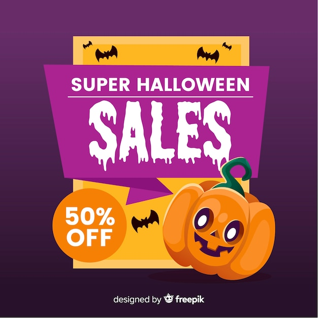 Halloween sales background in flat style Free Vector