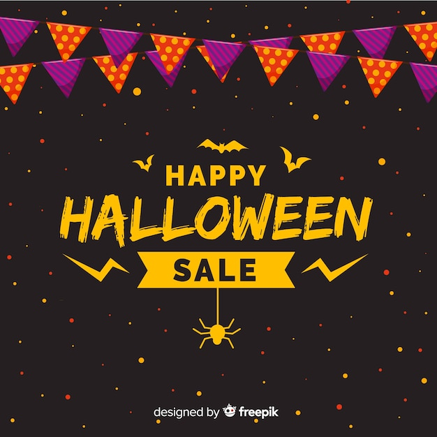 Halloween sales background flat style Free Vector