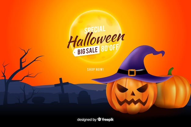 Halloween sales background realistic style Free Vector