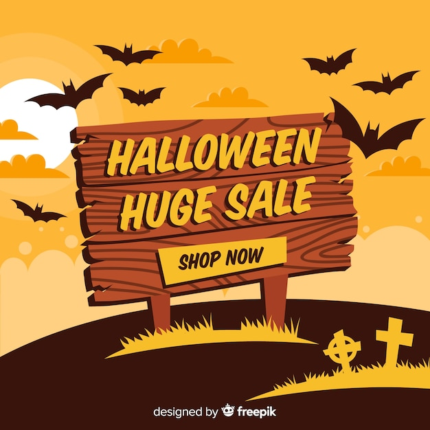 Halloween sales background with wooden sign Free Vector