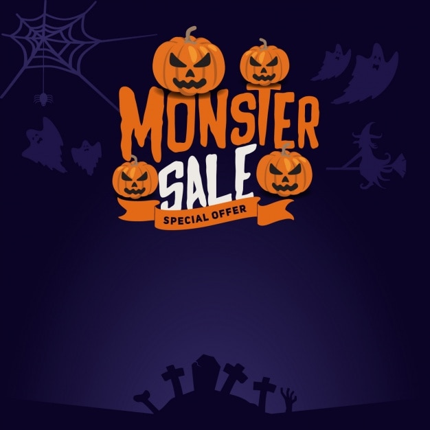 halloween sales background free vector - Halloween Sales