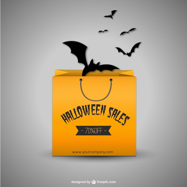 halloween sales with shopping bag and bats free vector - Halloween Sales
