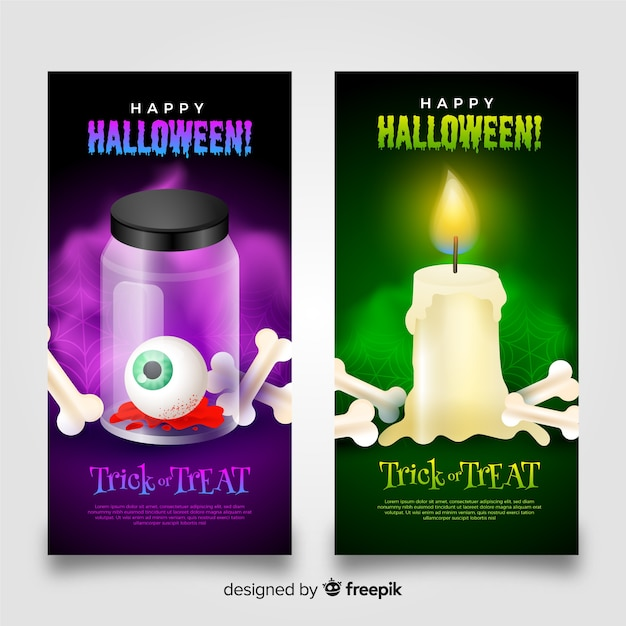 Halloween scary banners with bones Free Vector