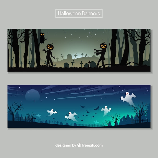 Halloween scary banners Free Vector