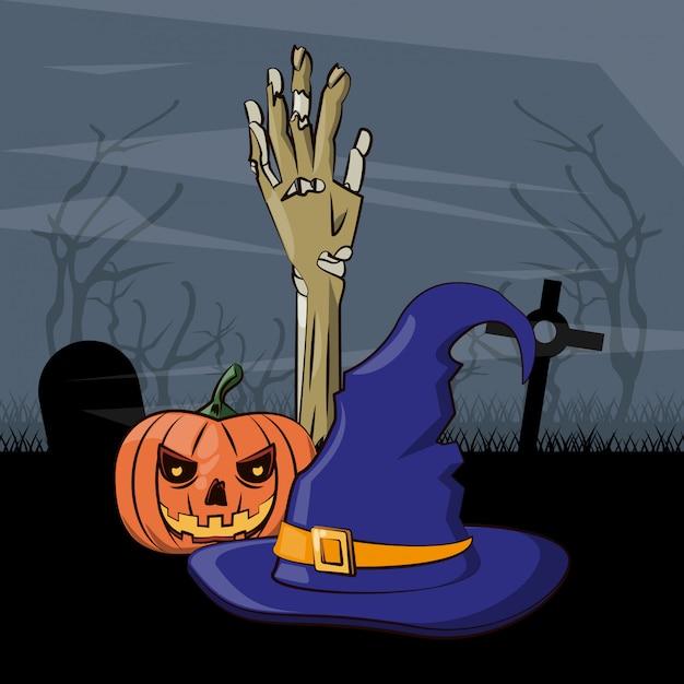 Halloween scary cartoons Premium Vector