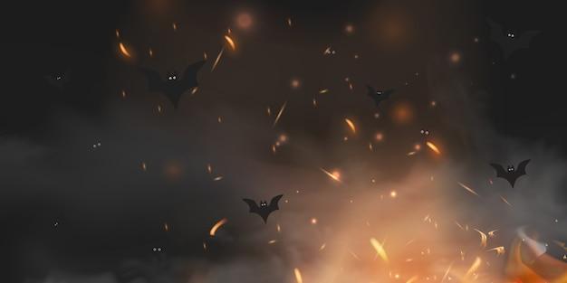 마법의 검은 조명 악마의 눈, 조명, 불꽃 스파클 Bokeh와 박쥐 실루엣 신비한 안개에 할로윈 무서운 어두운 배경. 텍스트에 대 한 장소 할로윈 포스터 배경 프리미엄 벡터