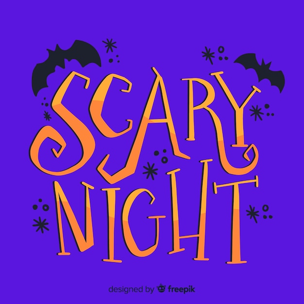 Halloween scary night with bats Free Vector
