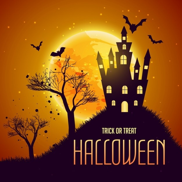 Halloween scene with a haunted house and bats Vector | Free Download