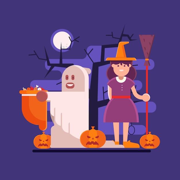 유령과 마녀와 함께 할로윈 장면 프리미엄 벡터