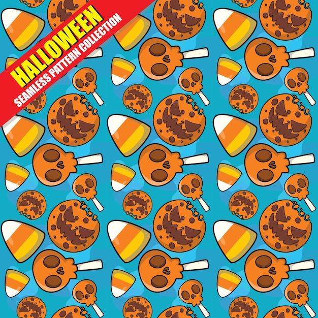 Halloween seamless pattern collection Premium Vector