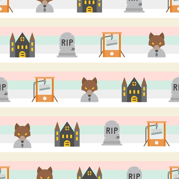 Halloween seamless pattern, flat design with clipping mask Premium Vector
