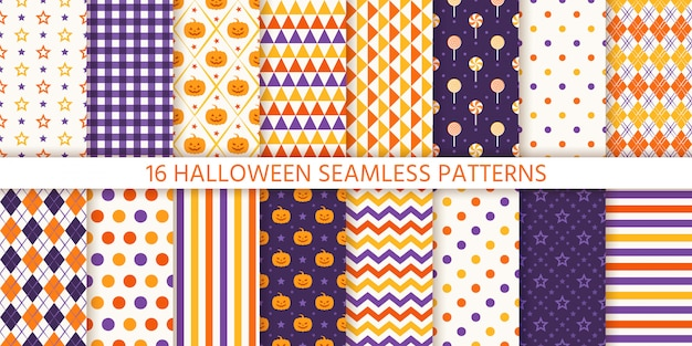 ハロウィーンのシームレスなパターン。図。幾何学的な包装紙。 Premiumベクター