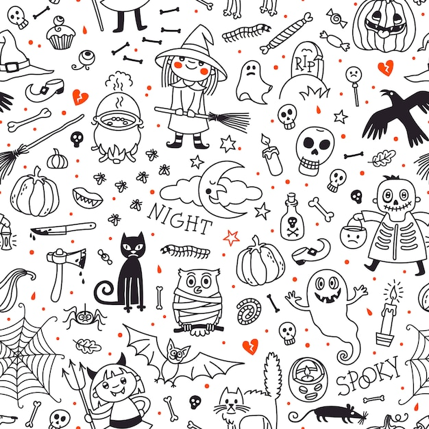 Halloween seamless pattern. pumpkin, ghosts, cats, skulls, bats and other symbols. Premium Vector