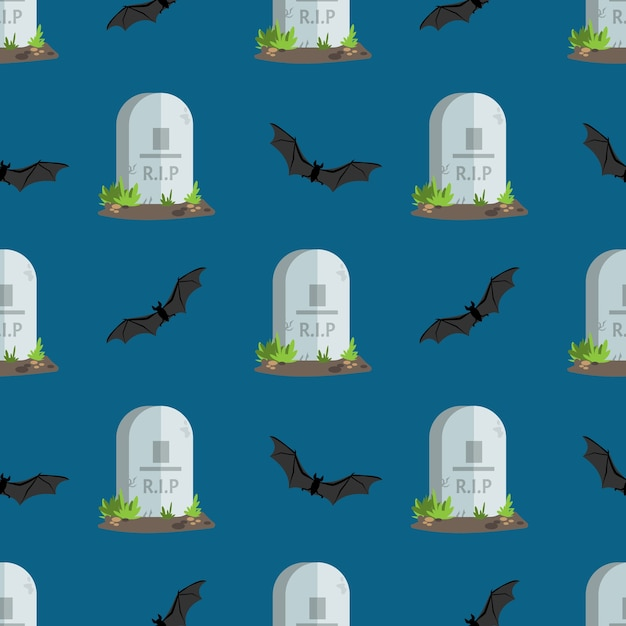 Halloween seamless pattern tombstones with r.i.p text. Premium Vector