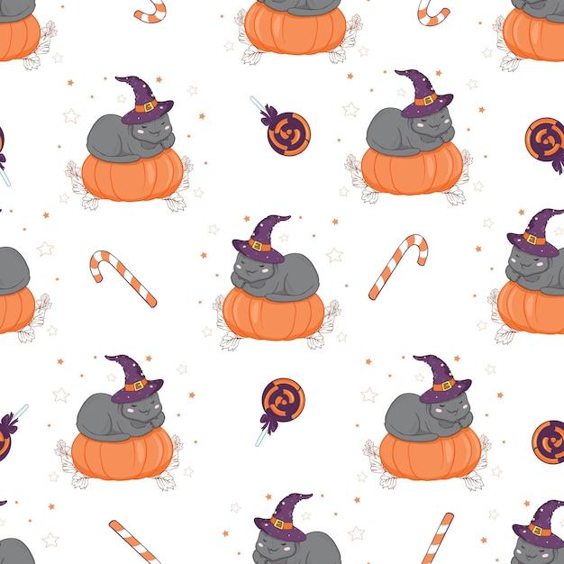 Halloween seamless pattern with cat and pumpkin. Premium Vector