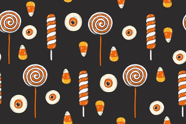 Halloween seamless pattern with  colored hand made  sweets, candy corn, lollipops in sketch style. Premium Vector