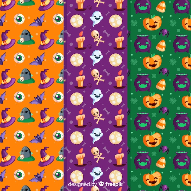 Halloween seamless pattern with festive characters Free Vector