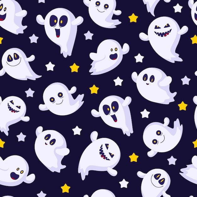 Хэллоуин бесшовные модели с призраками смайликов, звезд, забавных персонажей Premium векторы