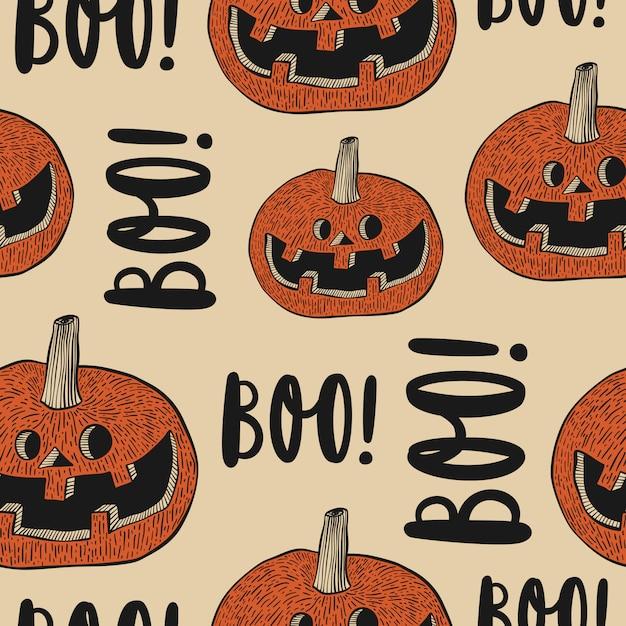 Хэллоуин бесшовные с тыквенными лицами и «бу!» рисованной надписи. Premium векторы