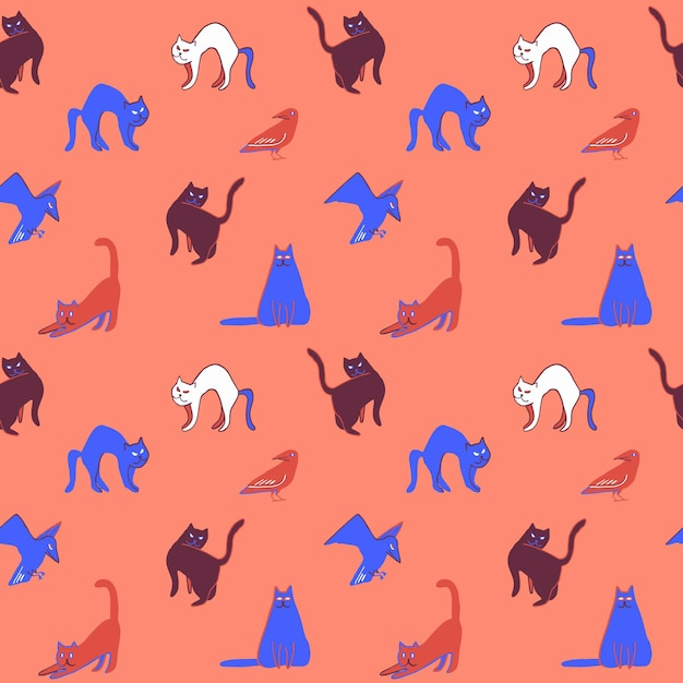 Halloween seamless pattern with scary cats and crows