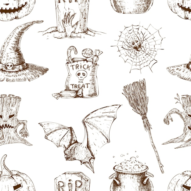 Modello senza cuciture di halloween Vettore gratuito