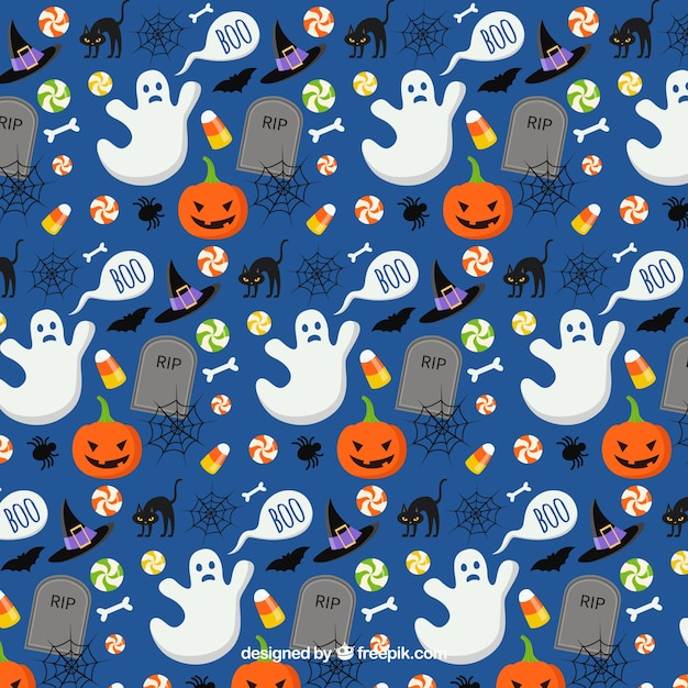 Halloween seamless pattern Free Vector