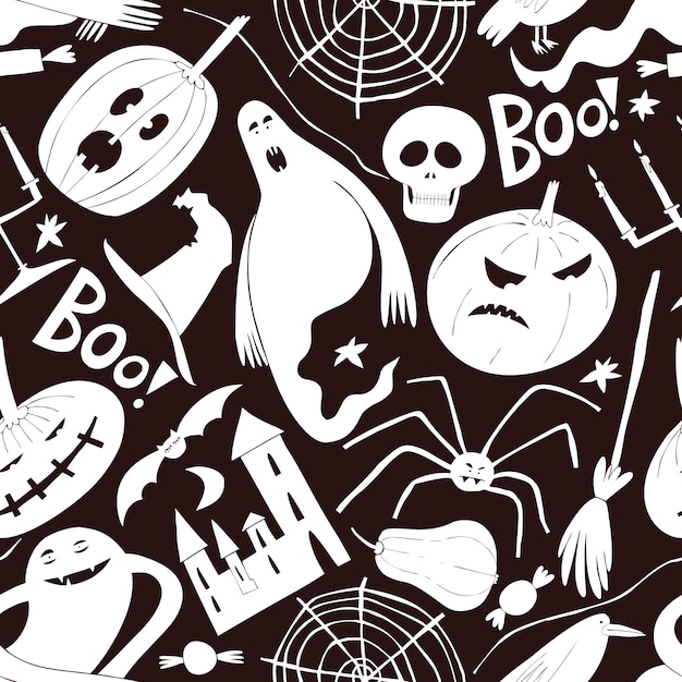Halloween seamless pattern. Premium Vector
