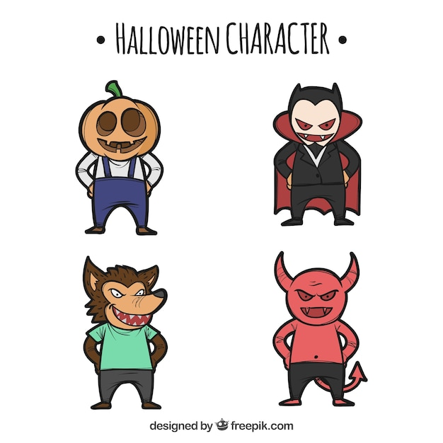 Halloween set of hand drawn characters Free Vector