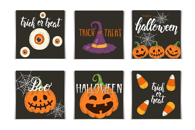 Halloween set of invitation cards with hand drawn icons and lettering. pumpkin jack, witch hat, broom, hat, sweets, candy roots, coffin, pot with potion in sketch style. Premium Vector