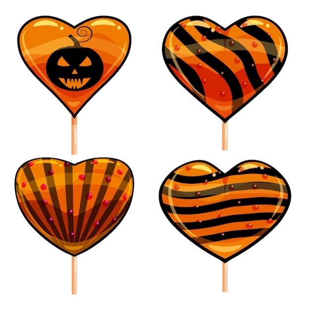할로윈 설정 막대 사탕 심장 과자 할로윈 호박 색상 요소와 다채로운. 프리미엄 벡터