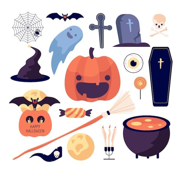 할로윈을 설정합니다. 거미줄과 호박, 박쥐와 관, 무덤과 달, 빗자루와 두개골, 과자 및 촛불 격리 컬렉션. 그림 거미 할로윈, 박쥐와 빗자루 프리미엄 벡터