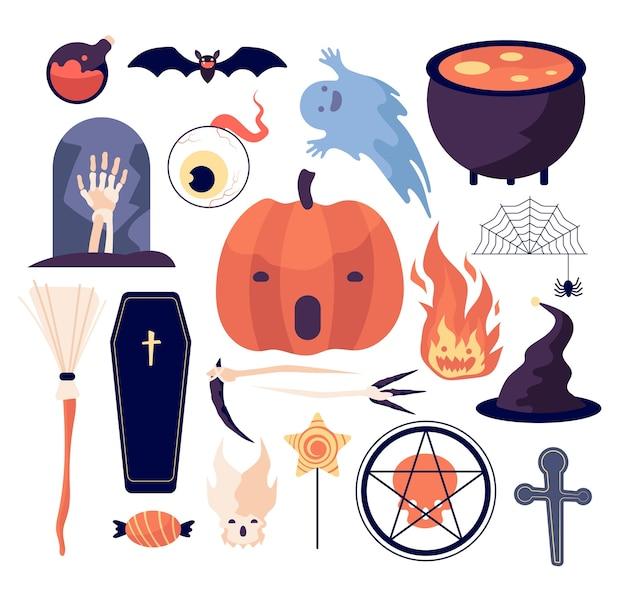 할로윈을 설정합니다. 거미줄과 호박, 박쥐와 관, 무덤과 달, 빗자루와 두개골, 죽은 손과 촛불, 눈과 불 벡터 세트. 그림 무서운 할로윈, 두개골과 안구, 화재 및 무덤 프리미엄 벡터