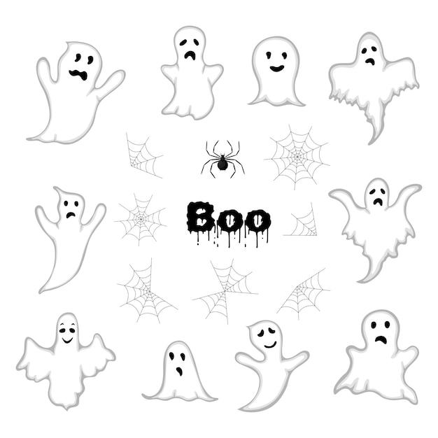 Halloween Set With Casts Cartoon Style Vector Premium Vector